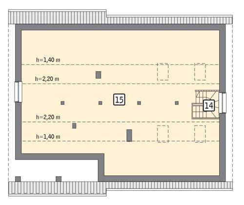 RZUT PODDASZA: II etap realizacji - do indywidualnej aranżacji (59,3 m2 powierzchni użytkowej)
