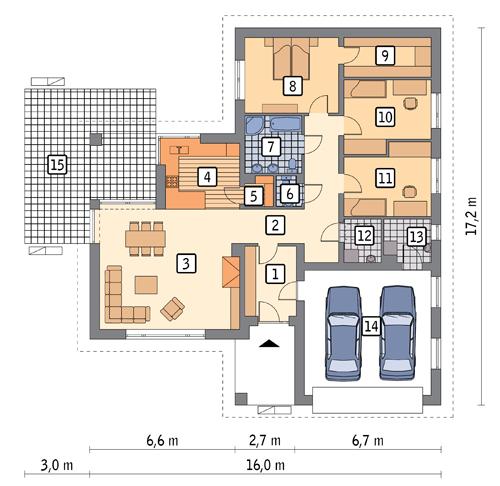 RZUT PARTERU POW. 161,1 m²