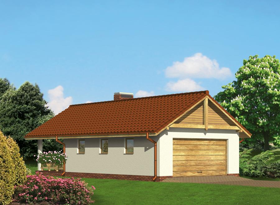Projekt Garażu G15d Garaż Z Pomieszczeniem Gospodarczym I Wiatą