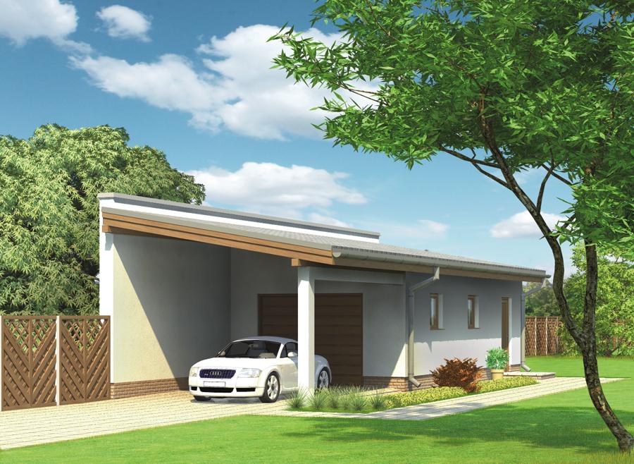 Projekt Garażu G42 Garaż Z Pomieszczeniem Gospodarczym I Wiatą