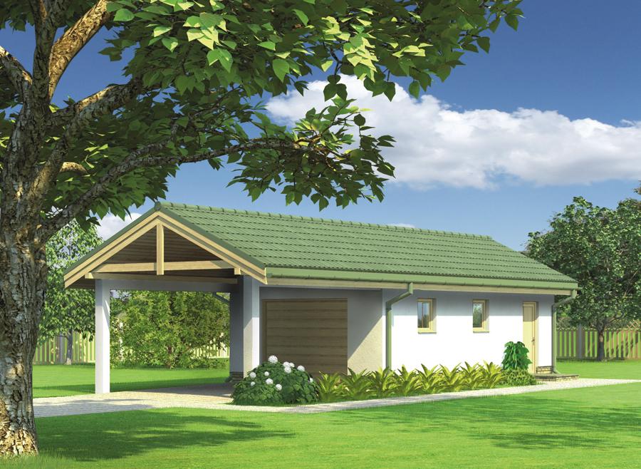 Projekt Garażu G42a Garaż Z Pomieszczeniem Gospodarczym I Wiatą