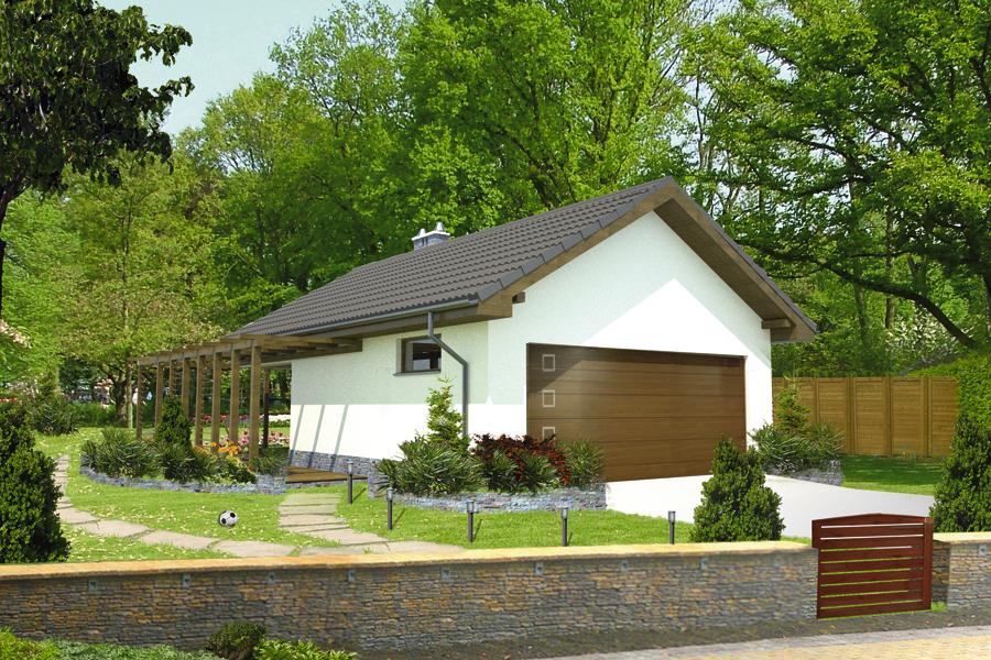 Projekt Garażu Gc69a Garaż Z Kotłownią I Wiatą Rekreacyjną Murator