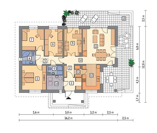 RZUT PARTERU POW. 128,3 m²