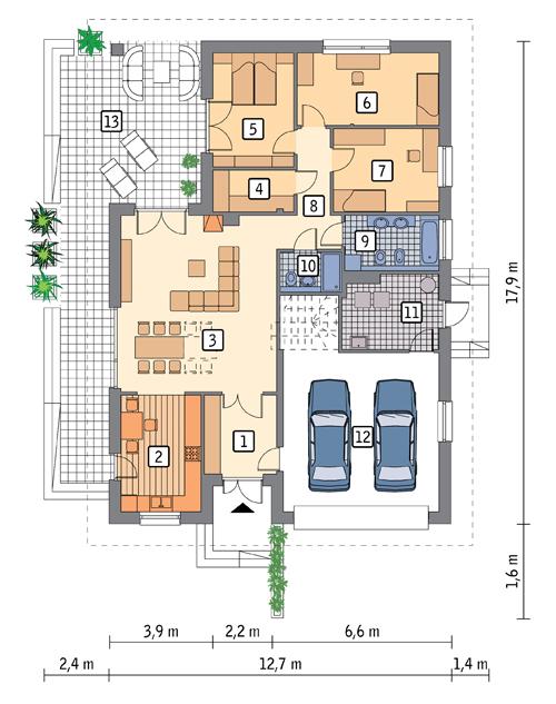 RZUT PARTERU POW. 163,4 m²