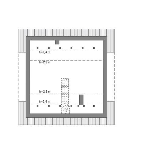 Rzut poddasza: do indywidualnej adaptacji (35,4 m2 powierzchni użytkowej)