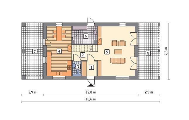 Rzut parteru POW. 75,7 m²