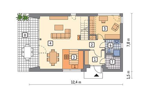 Rzut parteru POW. 66,9 m²
