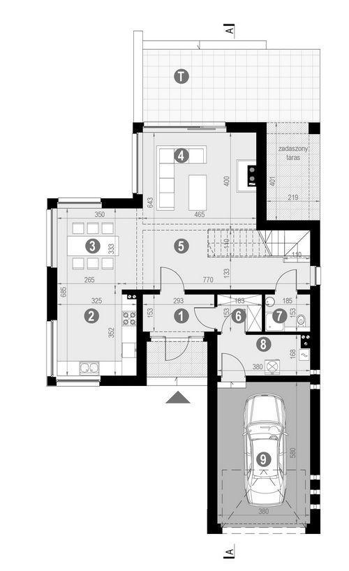 Rzut parteru POW. 93,8 m²