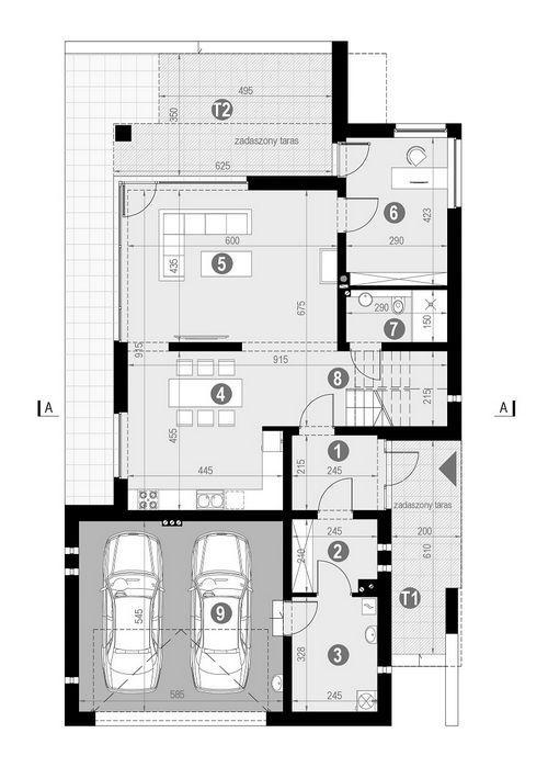 Rzut parteru POW. 120,8 m²