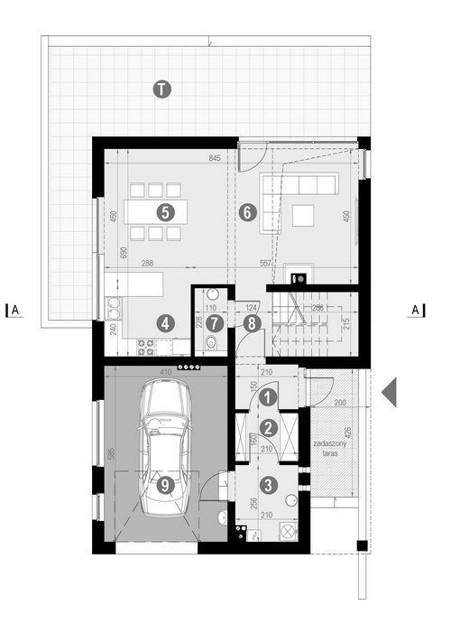 Rzut parteru POW. 88,9 m²