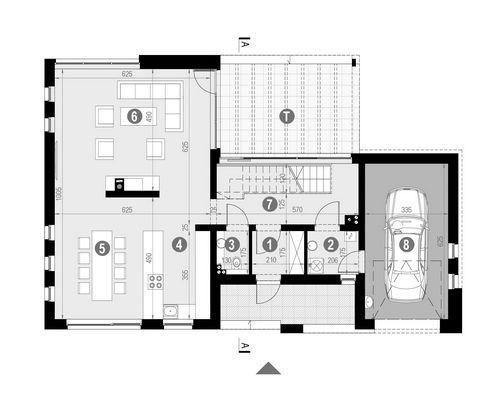 Rzut parteru:   POW. 101,8 m²
