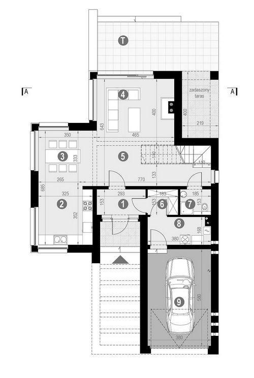 Rzut parteru:   POW. 95,7 m²