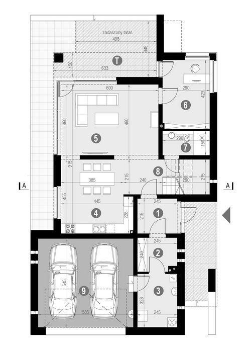 Rzut parteru:   POW. 121,0 m²