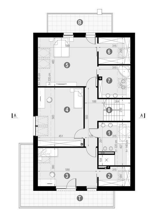 Rzut poddasza POW. 158,8 m²