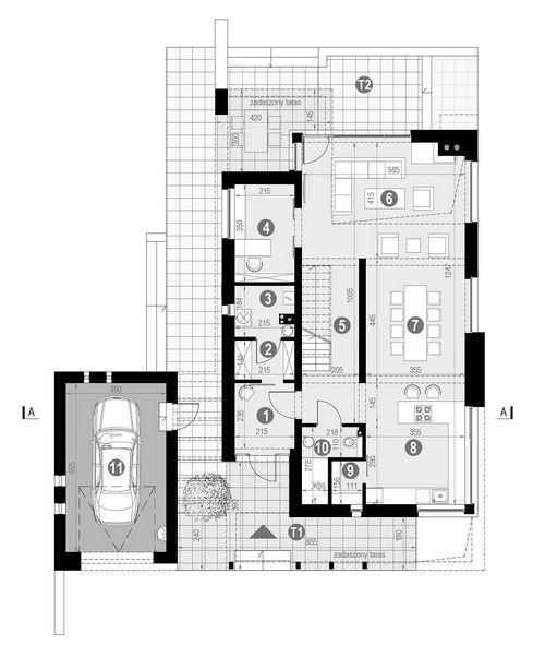 Rzut parteru POW. 114,0 m²