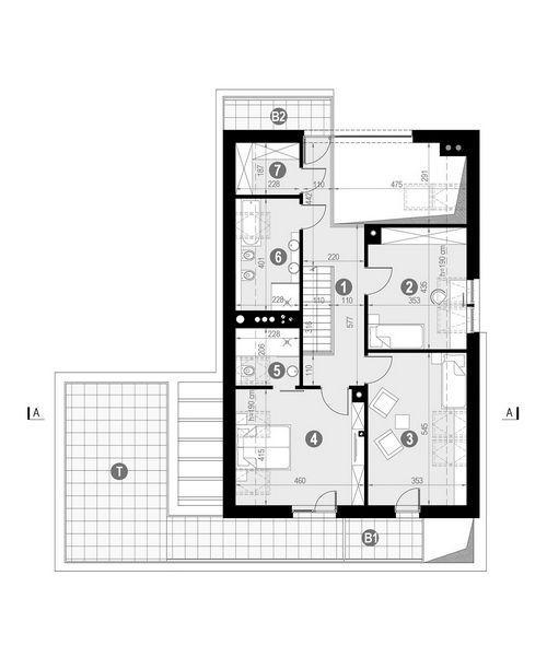 Rzut poddasza POW. 126,8 m²