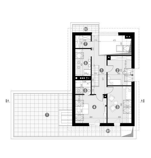 Rzut poddasza:   POW. 150,6 m²