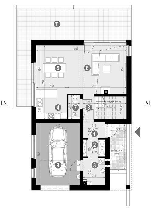 Rzut parteru:   POW. 89,9 m²