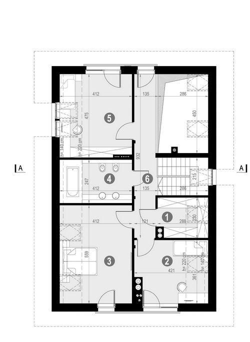 Rzut poddasza POW. 88,8 m²