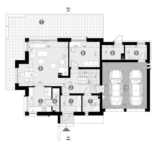 Rzut parteru POW. 116,3 m²