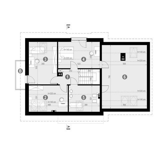 Rzut poddasza POW. 116,5 m²