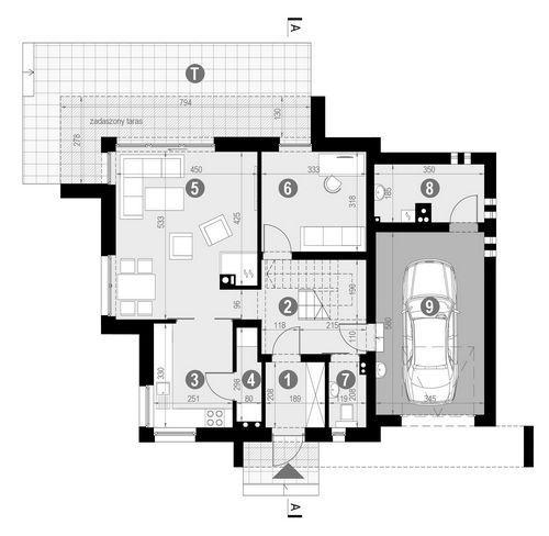 Rzut parteru:   POW. 85,4 m²