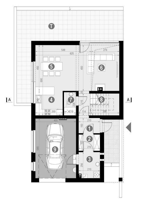 Rzut parteru:   POW. 88,0 m²