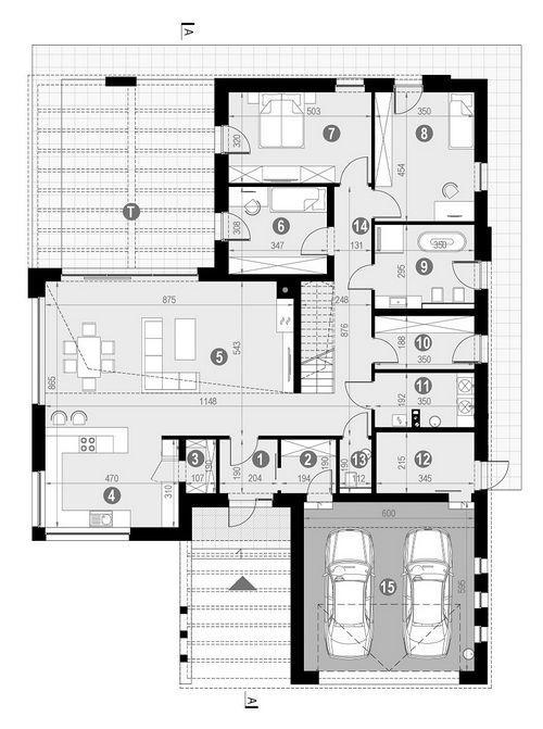 Rzut parteru POW. 199,8 m²