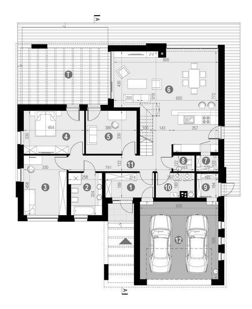 Rzut parteru POW. 341,2 m²