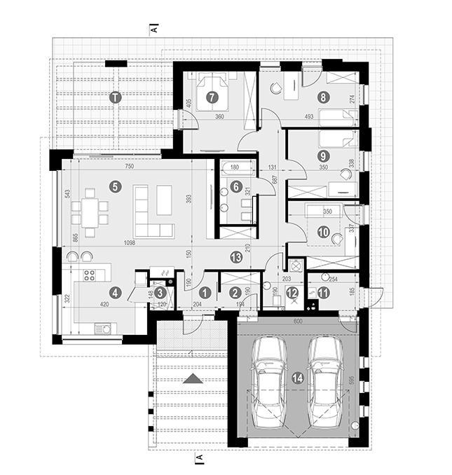 Rzut parteru POW. 178,0 m²
