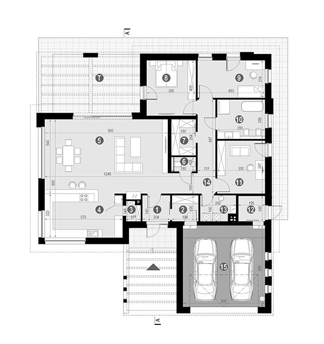 Rzut parteru POW. 190,7 m²