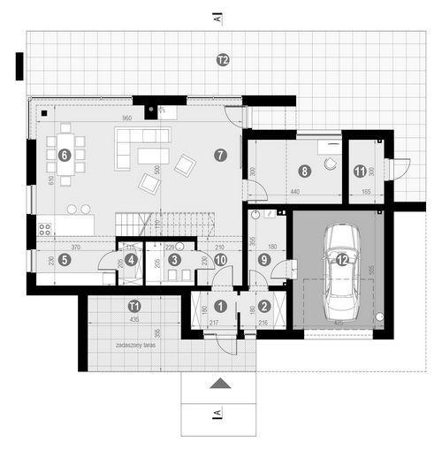 Rzut parteru POW. 133,2 m²