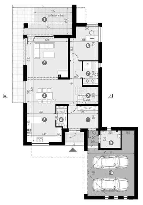 Rzut parteru POW. 160,0 m²