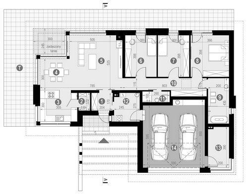 Rzut parteru POW. 162,6 m²