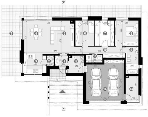 Rzut parteru POW. 168,8 m²