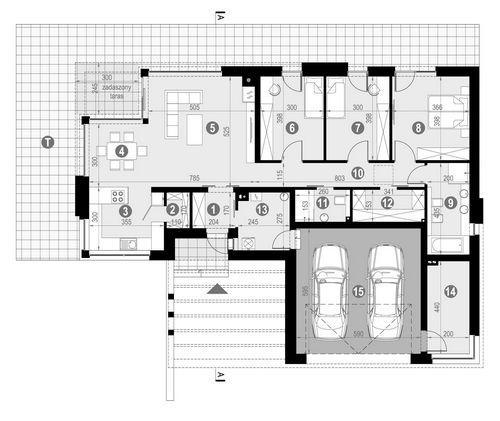Rzut parteru POW. 166,3 m²