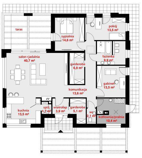 Rzut parteru POW. 149,3 m²