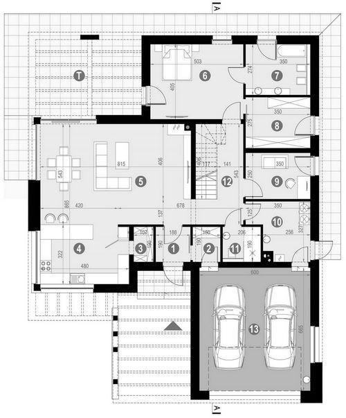 Rzut parteru POW. 182,6 m²