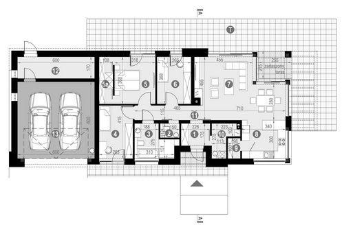 Rzut parteru POW. 110,8 m²