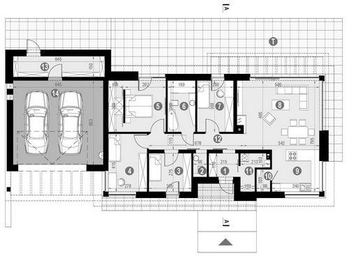 Rzut parteru POW. 157,4 m²