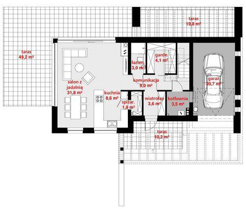 Rzut parteru POW. 87,9 m²