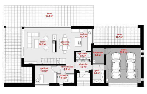 Rzut parteru POW. 135,2 m²