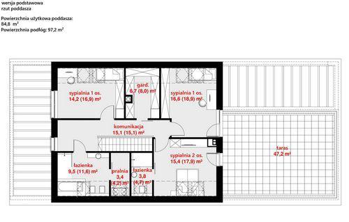 Rzut poddasza POW. 144,4 m²