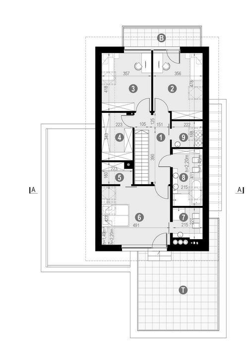 Rzut poddasza POW. 135,2 m²