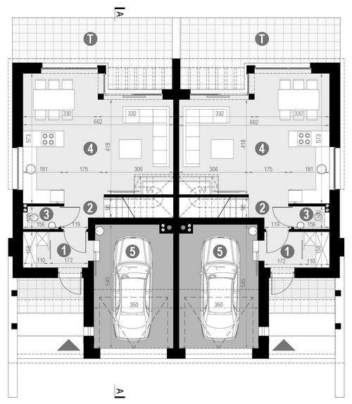 Rzut parteru POW. 62,2 m²