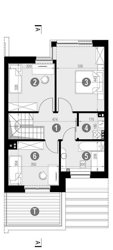 Rzut piętra POW. 58,9 m²