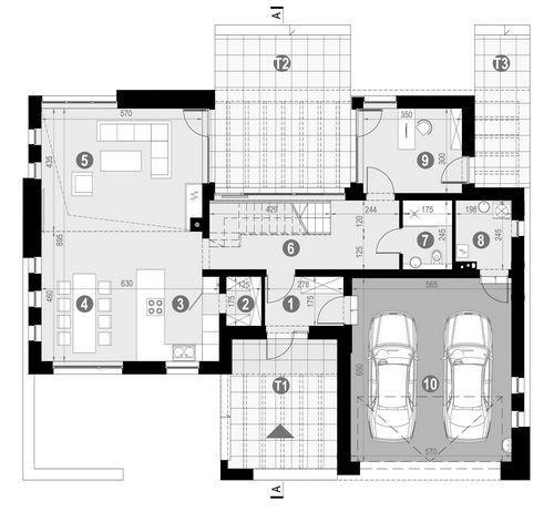 Rzut parteru POW. 129,7 m²