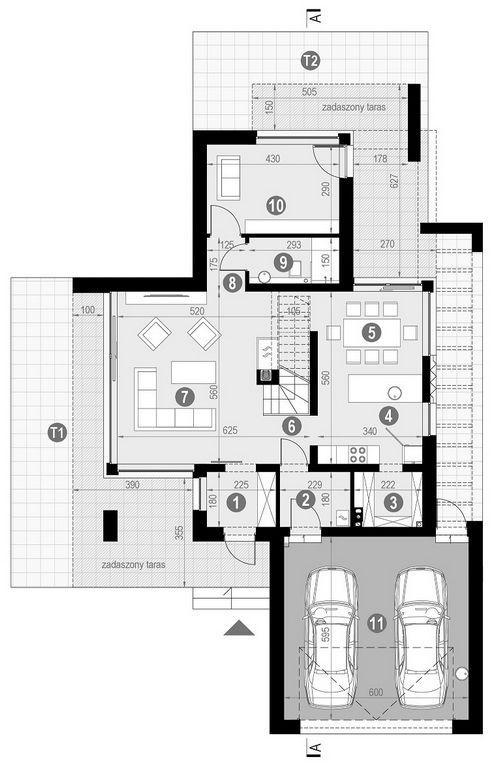 Rzut parteru POW. 119,4 m²