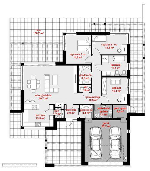 Rzut parteru POW. 177,4 m²