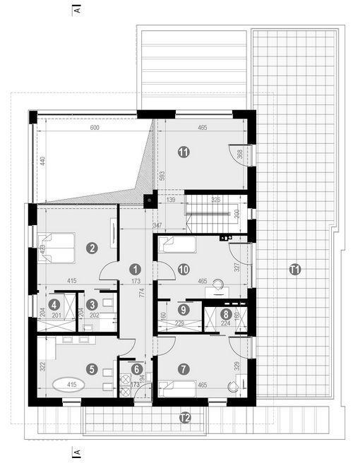Rzut piętra POW. 203,5 m²